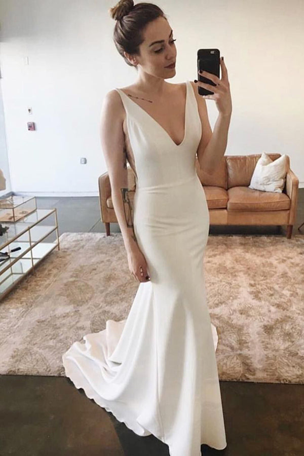 Elegant Mermaid V-neck Open Back Sleeveless Soft Satin Long Wedding Dresses,MW474
