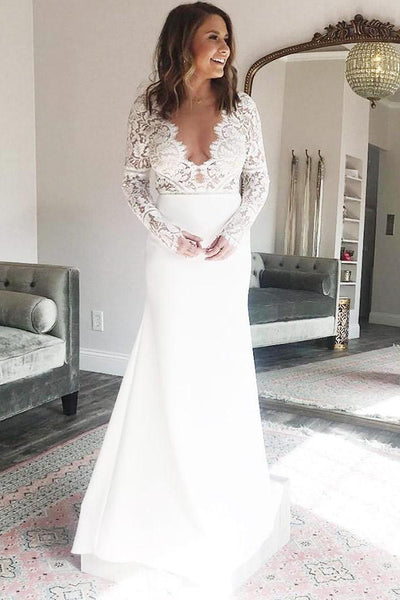 Satin Sheath V-neck Long Sleeves Mermaid Wedding Dress with Lace,MW485