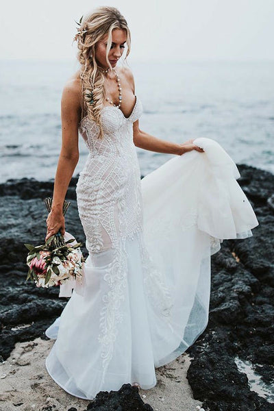 Elegant Mermaid Sweetheart Sweep Train Wedding Dress with Lace Appliques,MW486