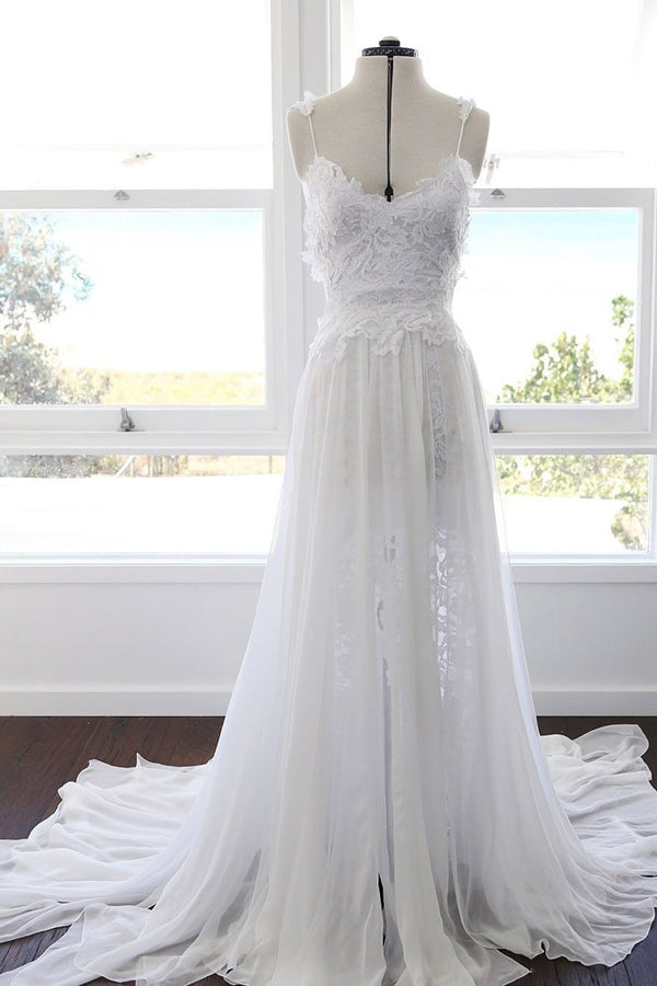 Sweetheart White Chiffon Spaghetti Strap Lace Beach Wedding Dresses,MW498