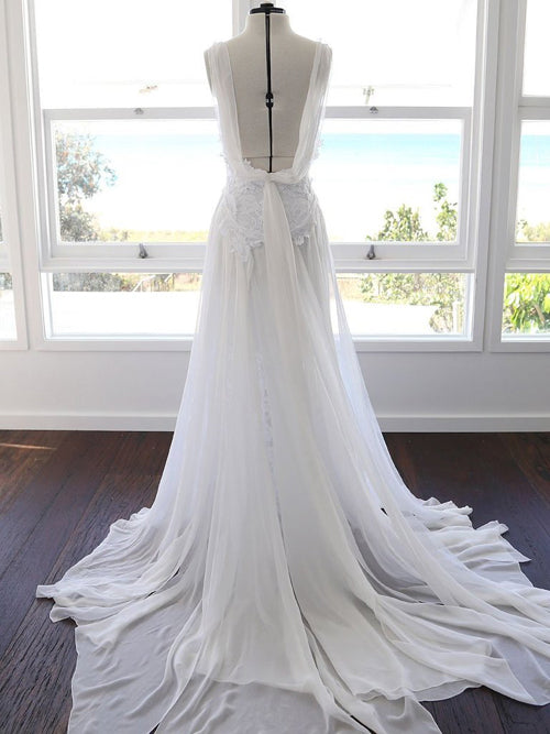 Sweetheart White Chiffon Spaghetti Strap Lace Beach Wedding Dresses,MW498 | musebridals.com