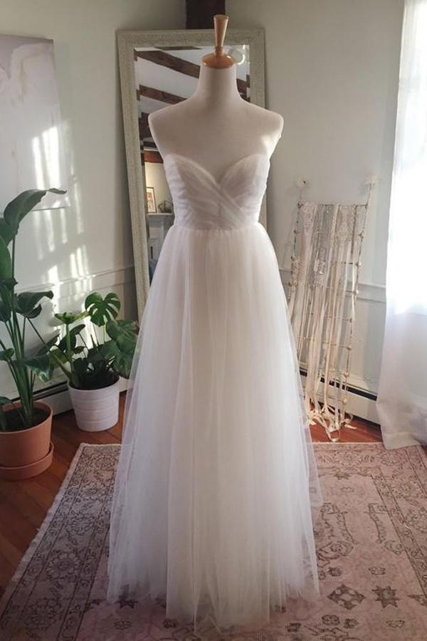 Simple Tulle Floor Length Open Back Sweetheart Strapless Wedding Dresses, MW217