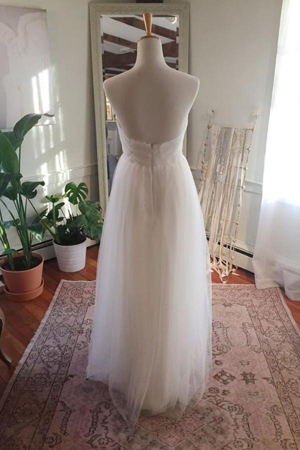 Simple Tulle Floor Length Open Back Sweetheart Strapless Wedding Dresses, MW217|musebridals.com