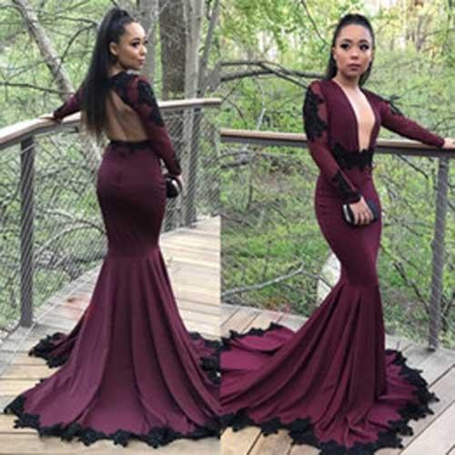 Gorgeous Purple Long Sleeves Mermaid Prom Dresses with Black Appliques, MP349|musebridals.com