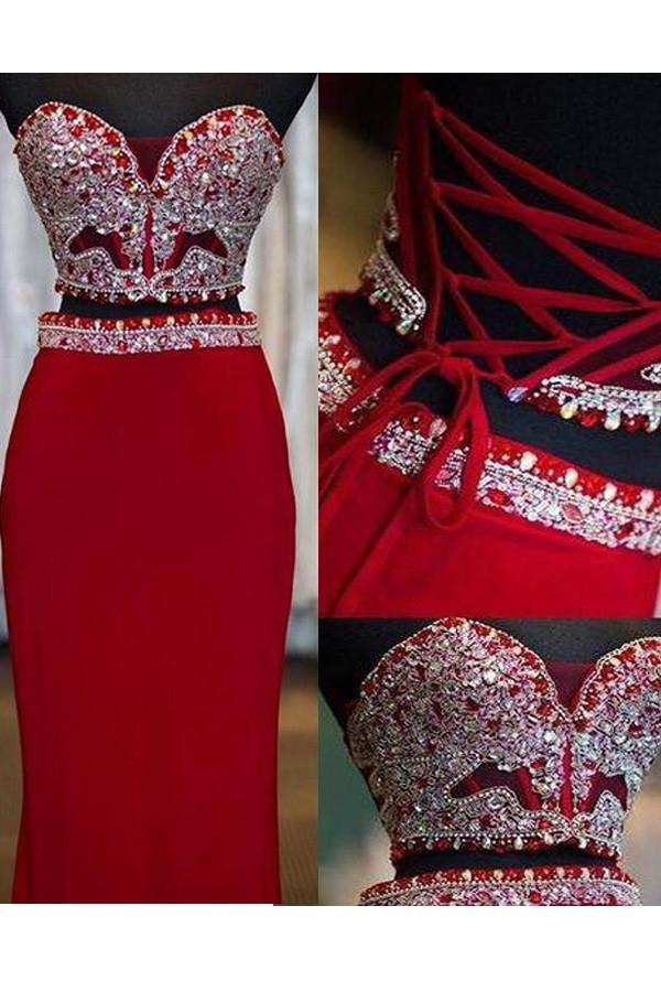 Two Piece Beaded Red Mermaid Lace Up Fashion Long Prom Dresses, MP278
