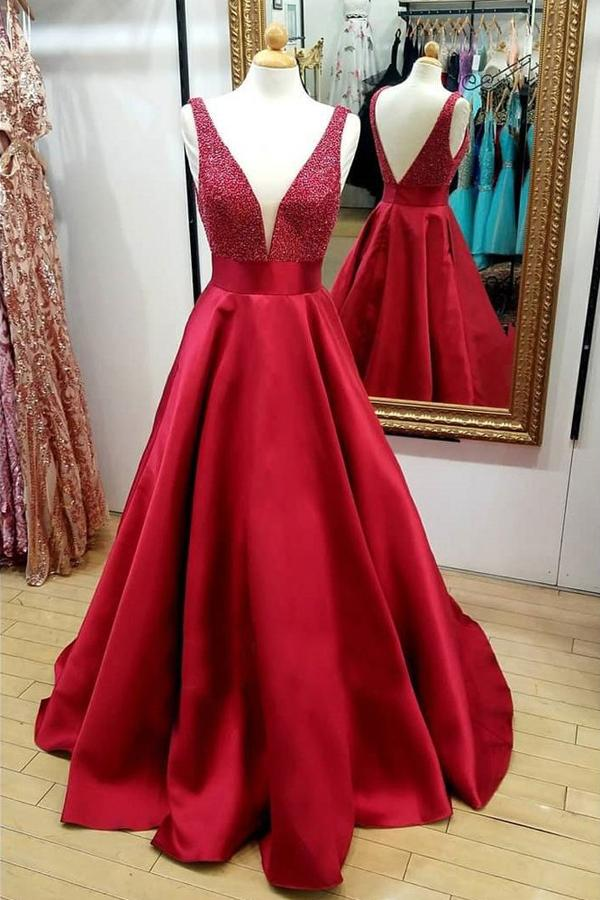 Red A Line V-Neck Beaded Backless Quinceanera Dresses Cheap Long Prom Dress, Mp115