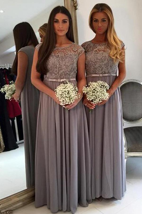 Cheap Scoop Neck Lace and Chiffon Floor Length Long Bridesmaid Dresses, MB121