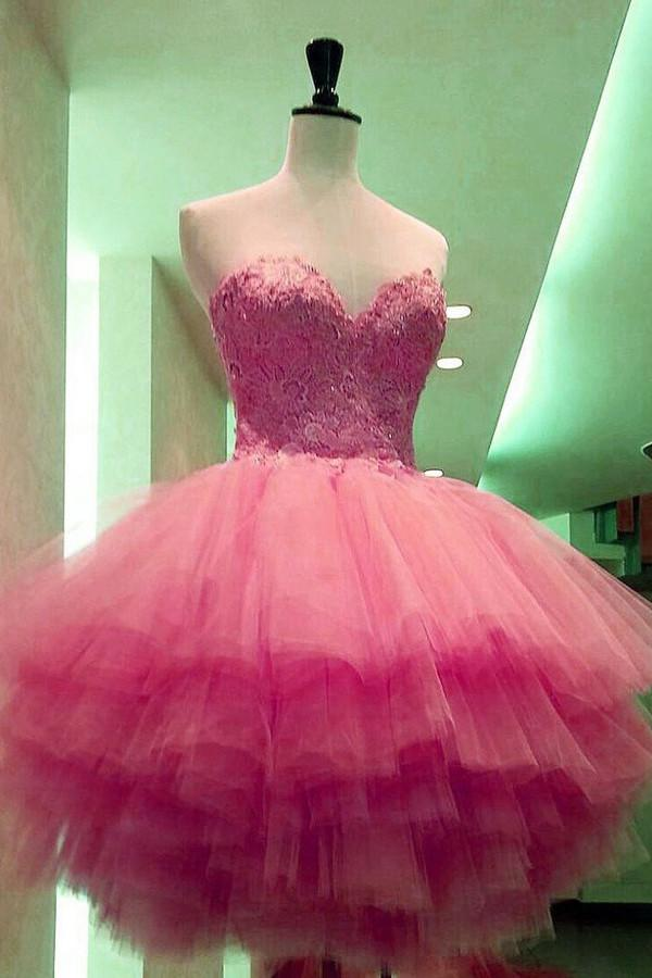 Pink A-line Sweetheart Strapless Lace Appliques Homecoming Dress Party Dresses, MH359
