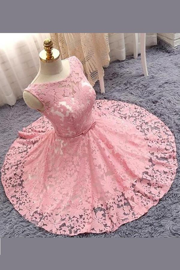Pink A-line Princess Sheer Floral Homecoming Dresses with Appliques, MH291