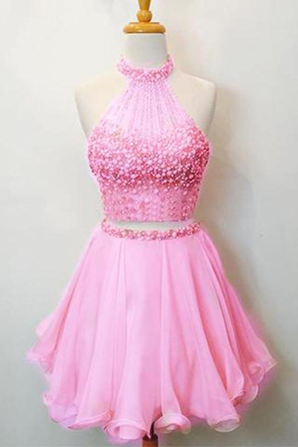 Hot Pink Two Piece Halter Beaded Scoop Neck Keyhole Back Homecoming Dresses, MH370
