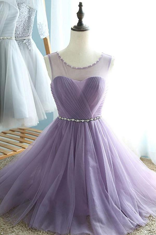 Simple Sheer A-line Sweetheart Lace Up Pleats Homecoming Dresses, MH350