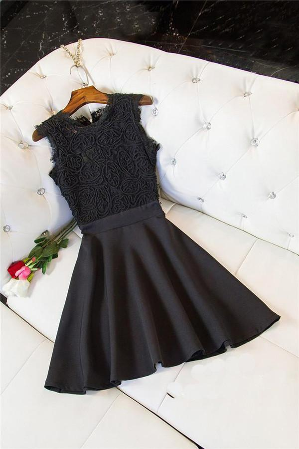 Black Simple Scoop Stain Short Prom Dress, Cheap Homecoming Dress, Party Dress MH118