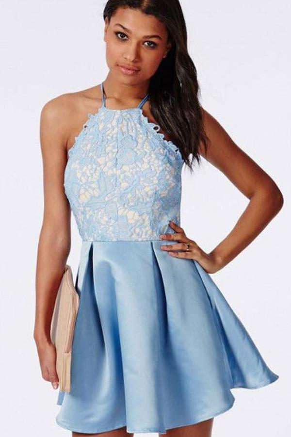 Light Blue Halter Tie Back Appliques Cheap Homecoming Dress, Party Dress, MH244