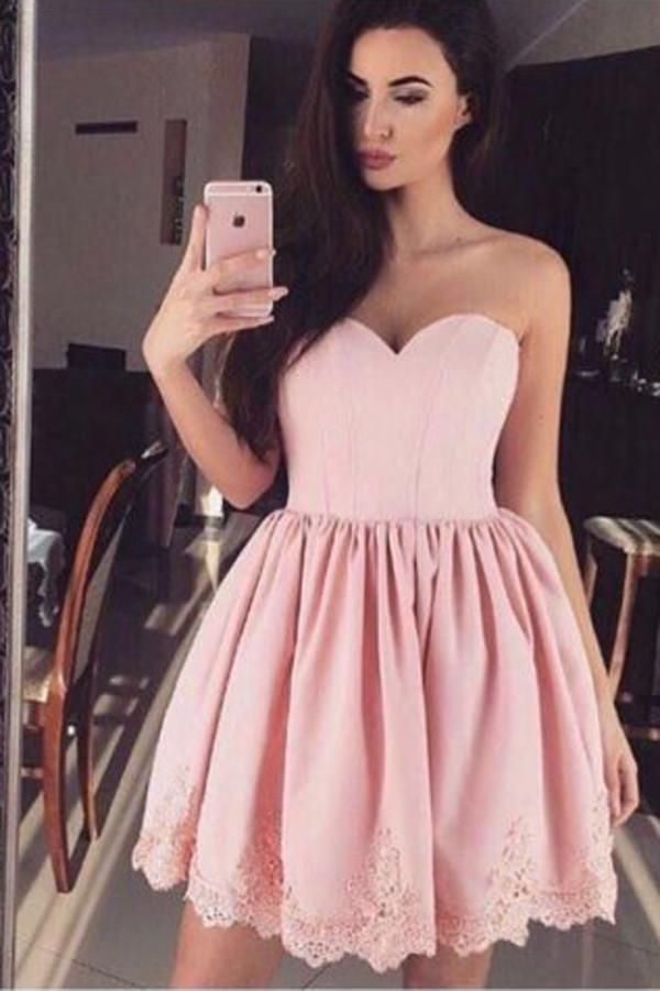 Pink Sweetheart Strapless Sleeveless Appliques Cheap Homecoming Dresses, MH276