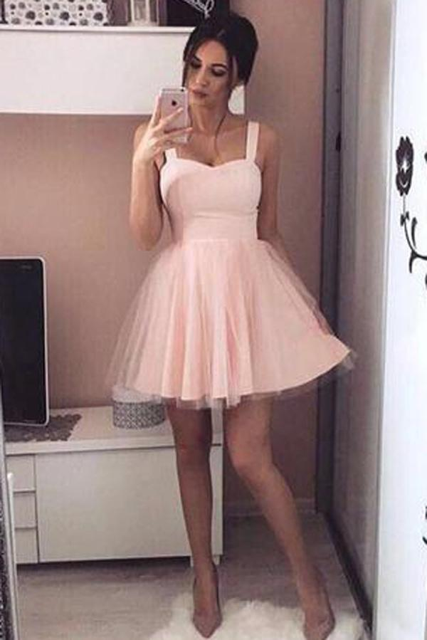 Pink Simple Tulle A Line Lace Up Sweetheart Homecoming Dress, Party Dresses, MH286