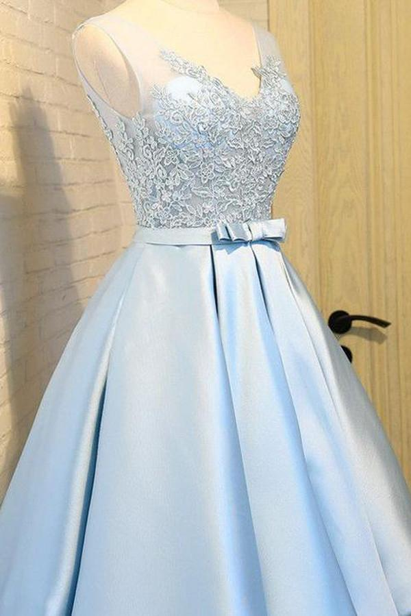 Light Blue Satin V Neck Homecoming Dresses, Party Dress with Appliques, MH246|musebridals.com