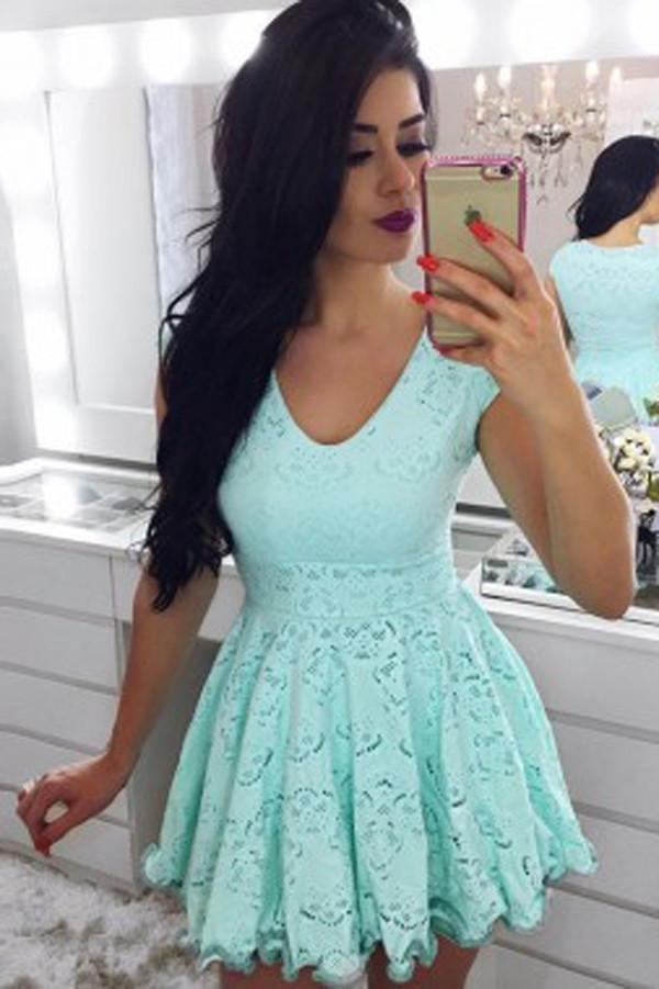 Green Cap Sleeve Short Prom Dress, Lace Homecoming Dress, Party Dresses, MH255