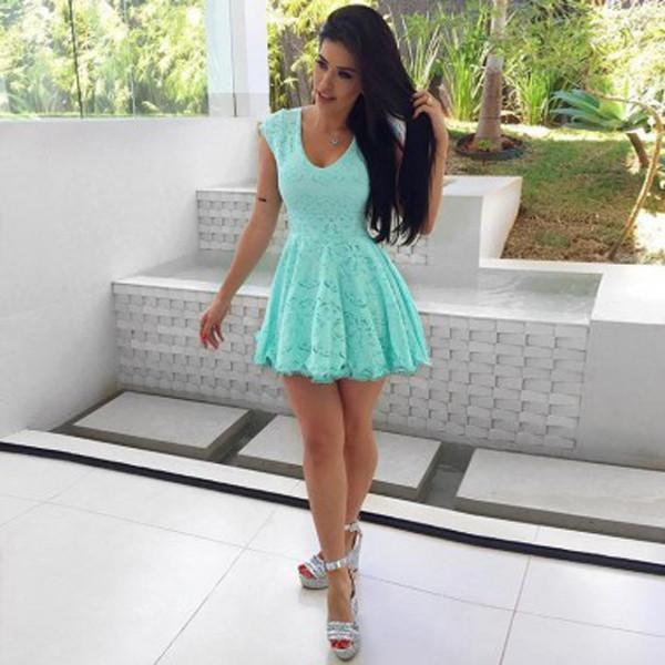 Green Cap Sleeve Short Prom Dress, Lace Homecoming Dress, Party Dresses, MH255|musebridals.com