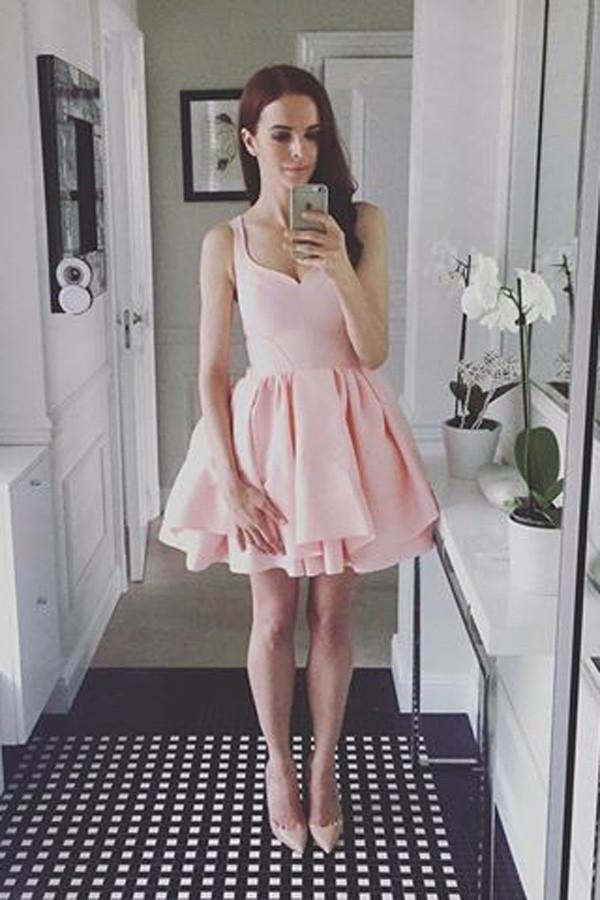 Simple Pink Sleeveless Ruffles A-line Sweetheart Homecoming Dresses MH414