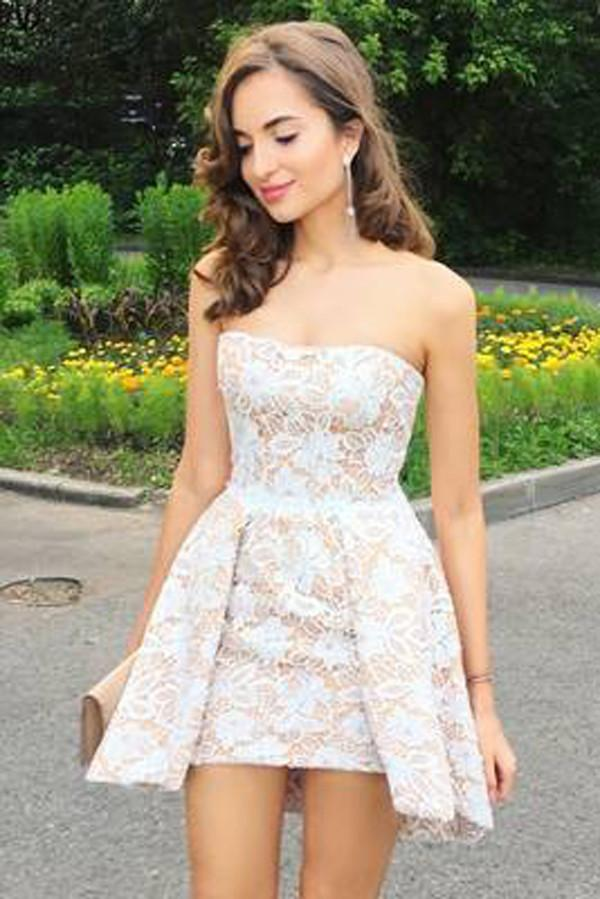 Elegant White Lace Strapless Short Homecoming Dress, Cheap Short Prom Dress, MH203