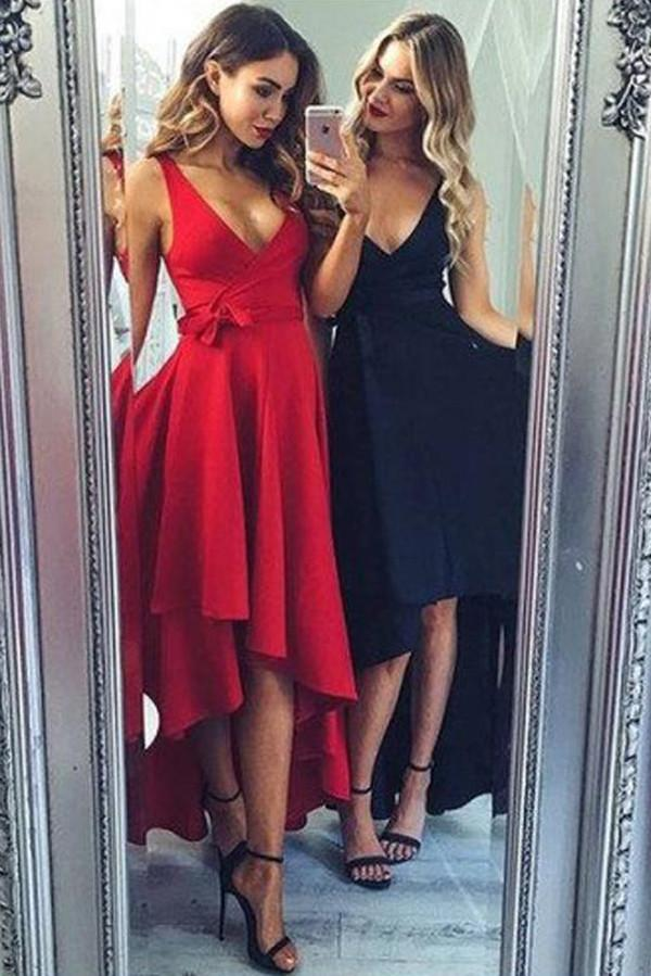 A-line High Low Simple Homecoming Dresses, Party Dress, Short Prom Dress, MH107