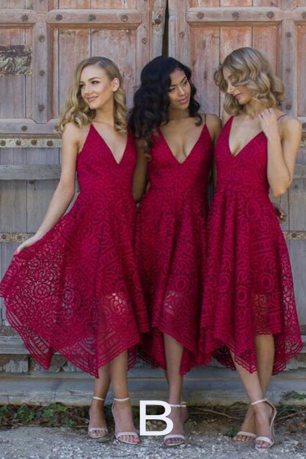 Royal Blue Lace V Neck Spaghetti Straps Bridesmaid Dress, Cheap Homecoming Dress, MH311|musebridals.com
