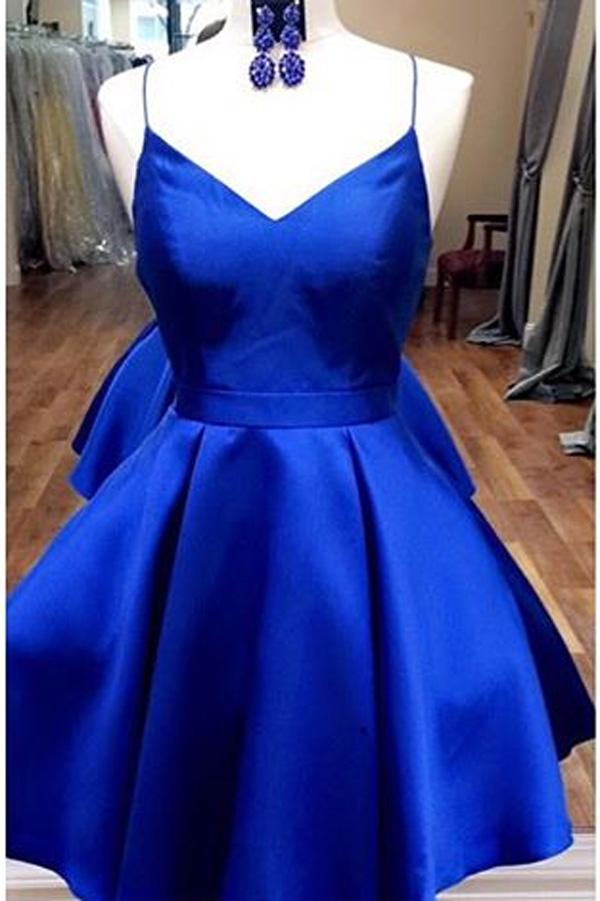 Royal Blue Spaghetti Straps V neck Homecoming Dresses with Ribbon, MH310