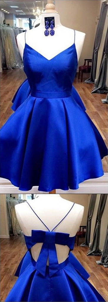 Royal Blue Spaghetti Straps V neck Homecoming Dresses with Ribbon, MH310|musebridals.com