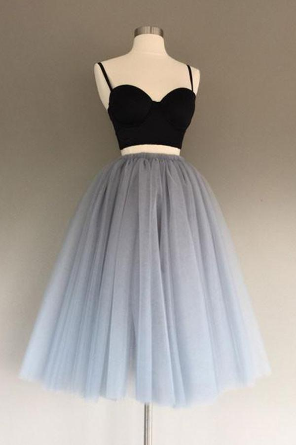 Charming Gray Tulle A-Line Two Piece Homecoming Dress, Graduation Dress, MH218