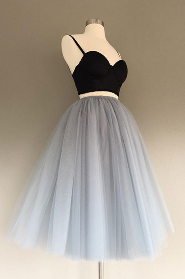 Charming Gray Tulle A-Line Two Piece Homecoming Dress, Graduation Dress, MH218|musebridals.com