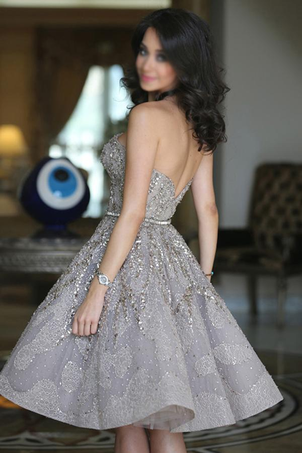Gray Straight Strapless Sparkle Mid Prom Dress, Cute Homecoming Dresses, MH217