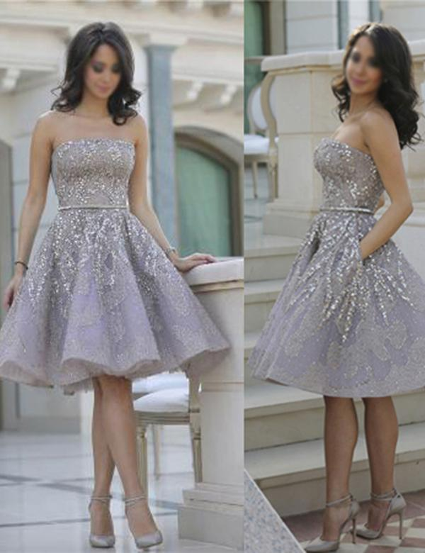 Gray Straight Strapless Sparkle Mid Prom Dress, Cute Homecoming Dresses, MH217|musebridals.com
