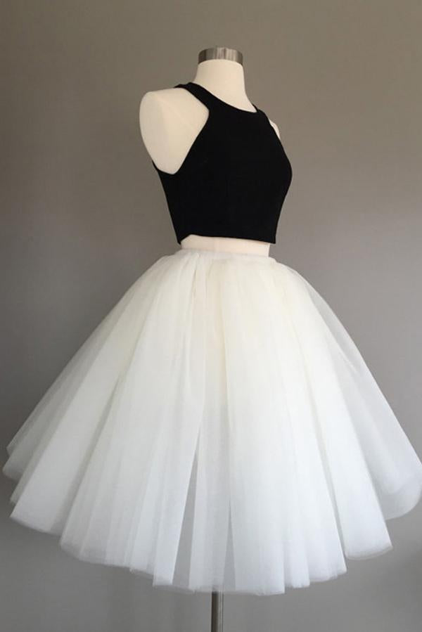 Ivory Two Piece Tulle Halter Knee-Length Sleeveless Short Homecoming Dress, MH234|musebridals.com