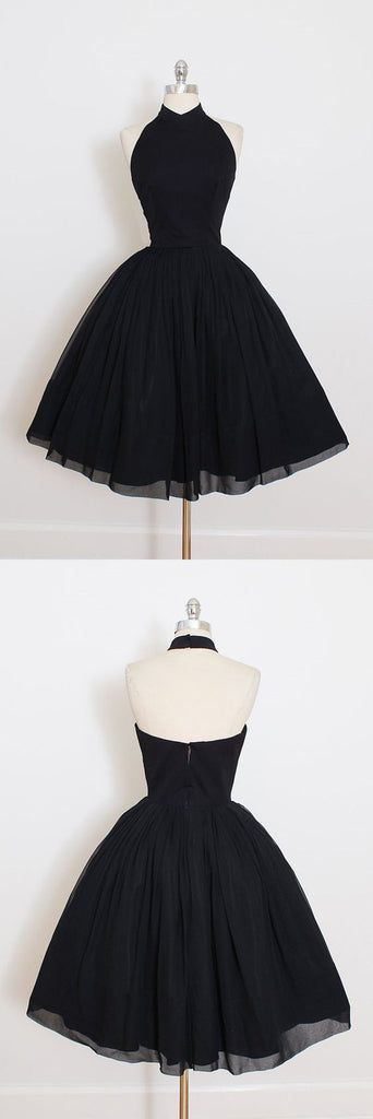 A Line Open Back Black Halter Short Sleeve Homecoming Dress, Short Prom Dress, MH123 at musebridals.com