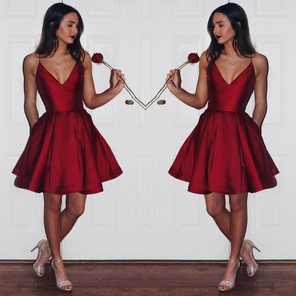 Burgundy Taffeta A-line V-neck Simple Spaghetti Strap Homecoming Dress, MH158 at musebridals.com