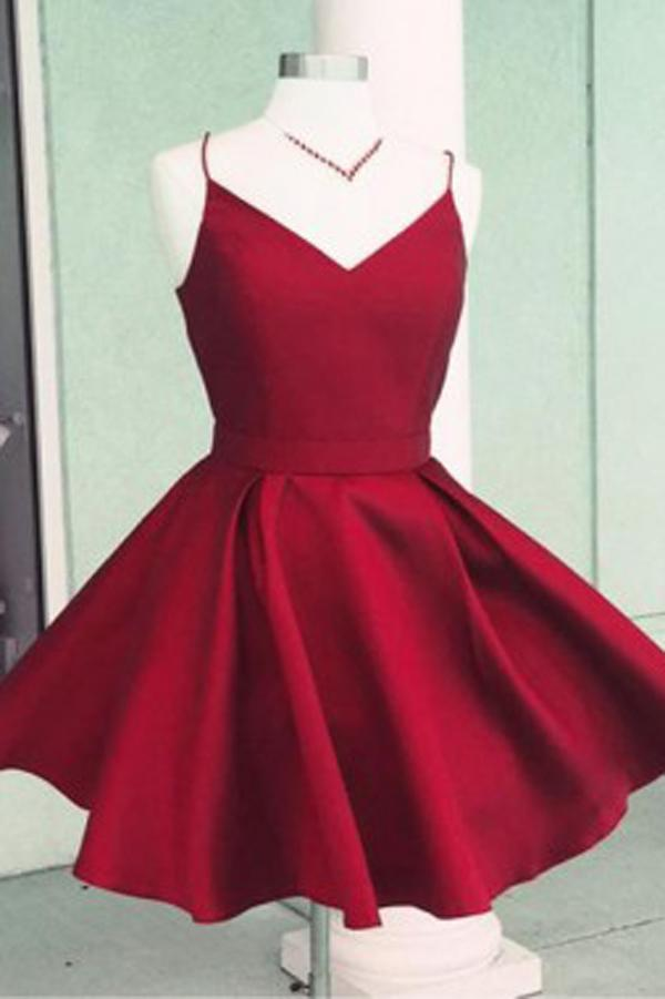 Burgundy Satin A-Line Spaghetti Straps Open Back Homecoming Dress with Bowknot, MH317