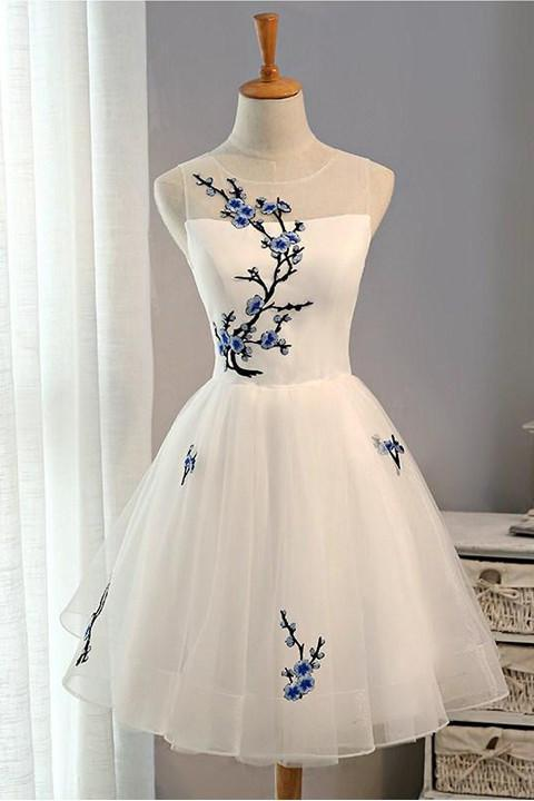 Tulle A-line Embroidery Flowers Cheap Homecoming Dress Short Prom Dresses, MH205