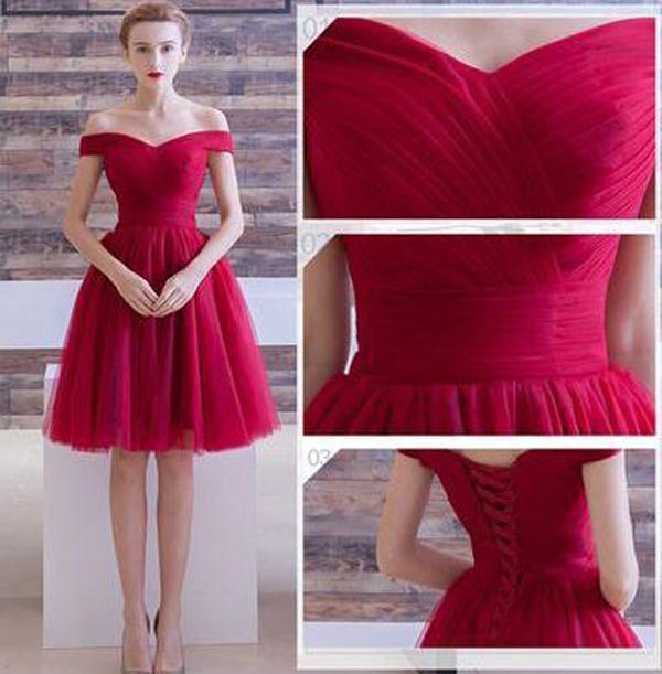 Red Tulle A Line Off The Shoulder Homecoming Dresses Short Prom Dresses, MH101 at musebridals.com