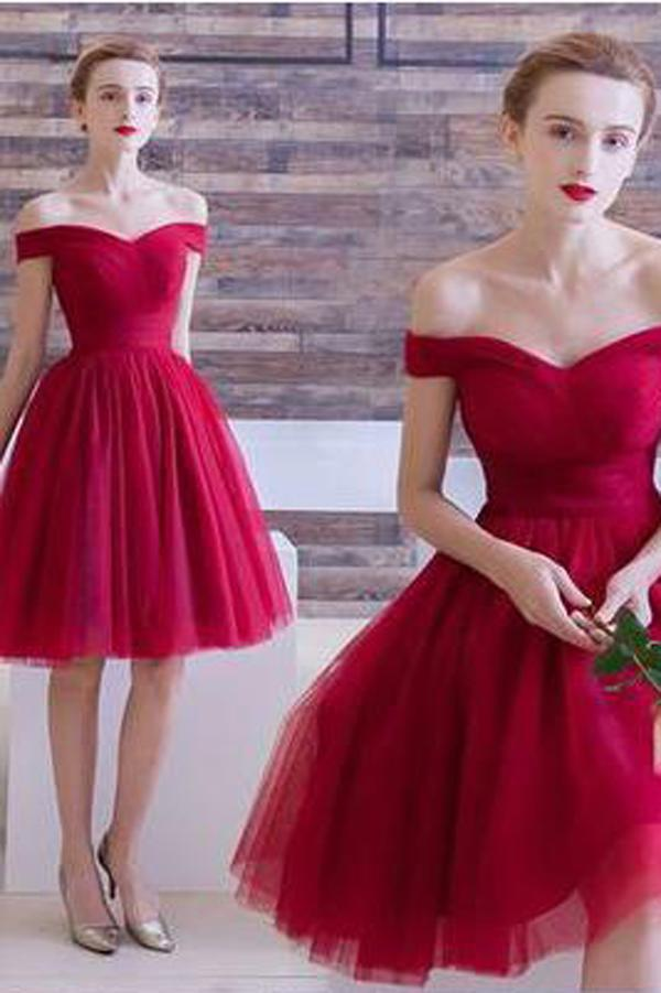 Red Tulle A Line Off The Shoulder Homecoming Dresses Short Prom Dresses, MH101