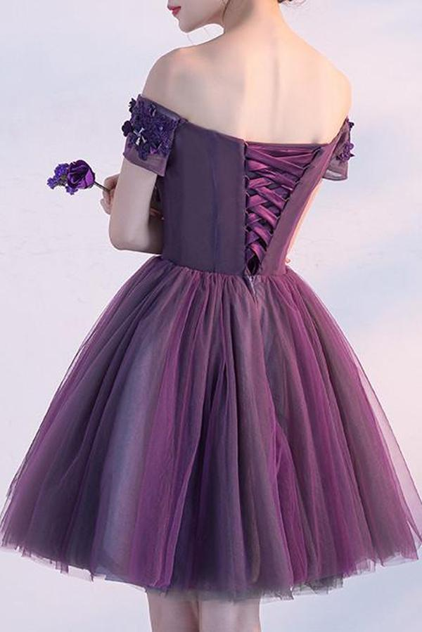 Tulle Simple Purple Off Shoulder Short Homecoming Dress With Appliques, MH413