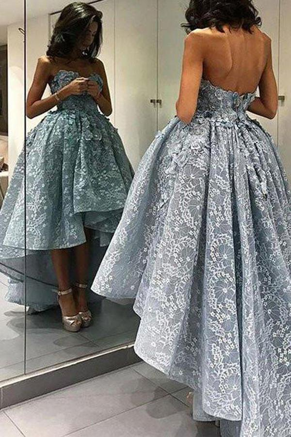 Blue Ball Gown Lace High Low Short Prom Dress, Homecoming Dress, Party Dress, MH113