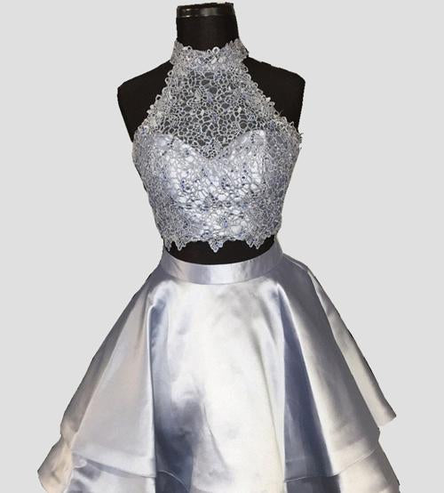 Blue Halter Two Pieces Princess Satin  Mini Homecoming Dresses,Short Prom Dress, MH376