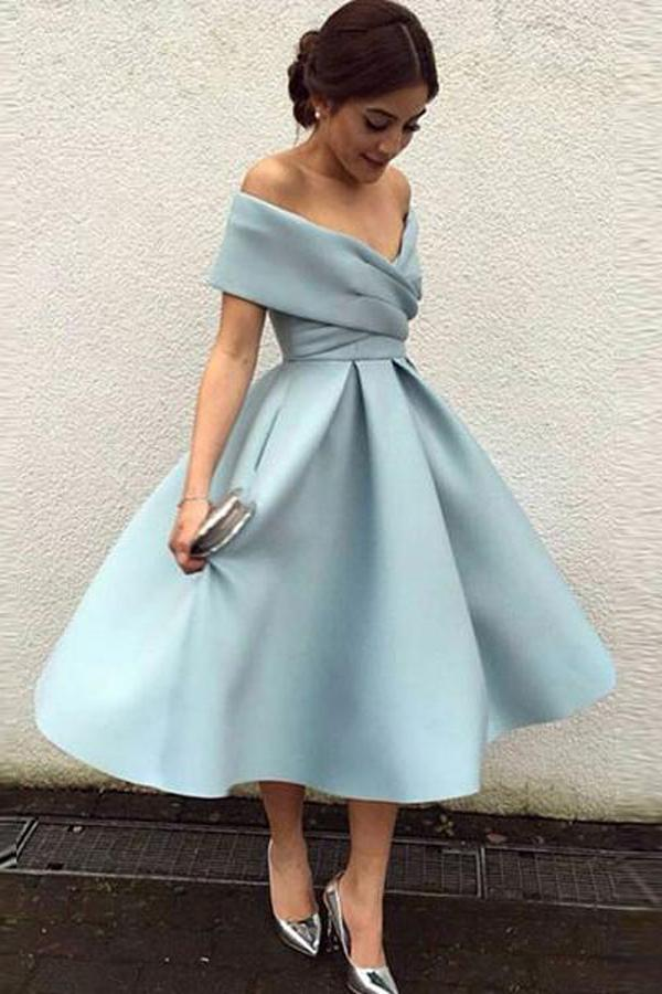 Simple Blue Satin A-Line Off Shoulder Homecoming Dress Short Prom Dress, MH315