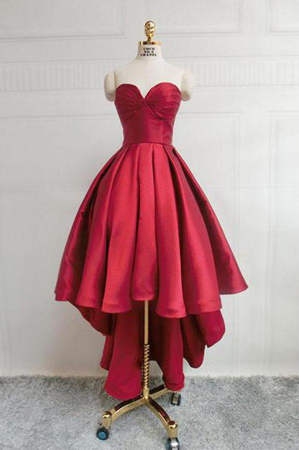 Burgundy Sweetheart Neck Sweet 16 with Corset Back High Low Short Prom Dresses, MH151