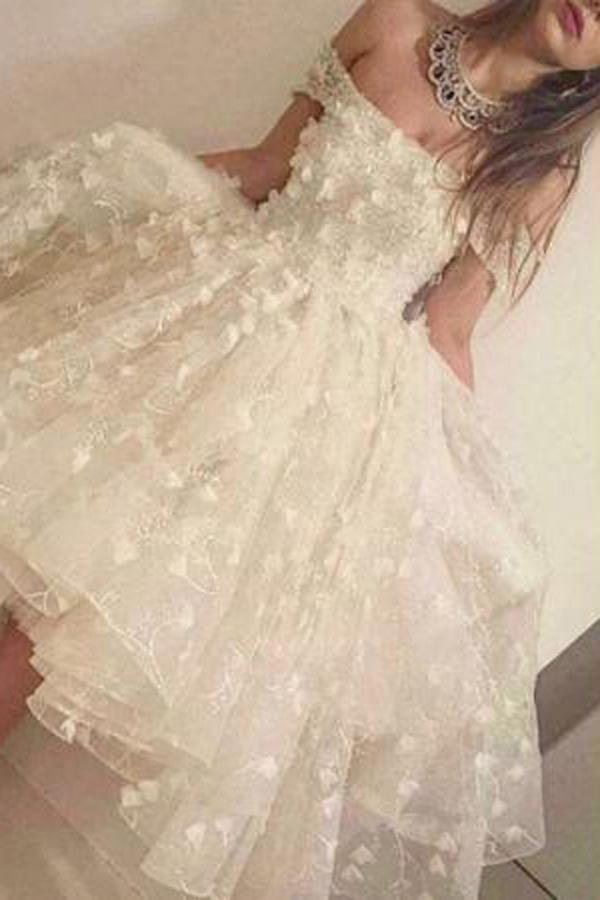 White A-line Ruffles Off-the-shoulder Homecoming Dresses, Short Prom Dress, MH313