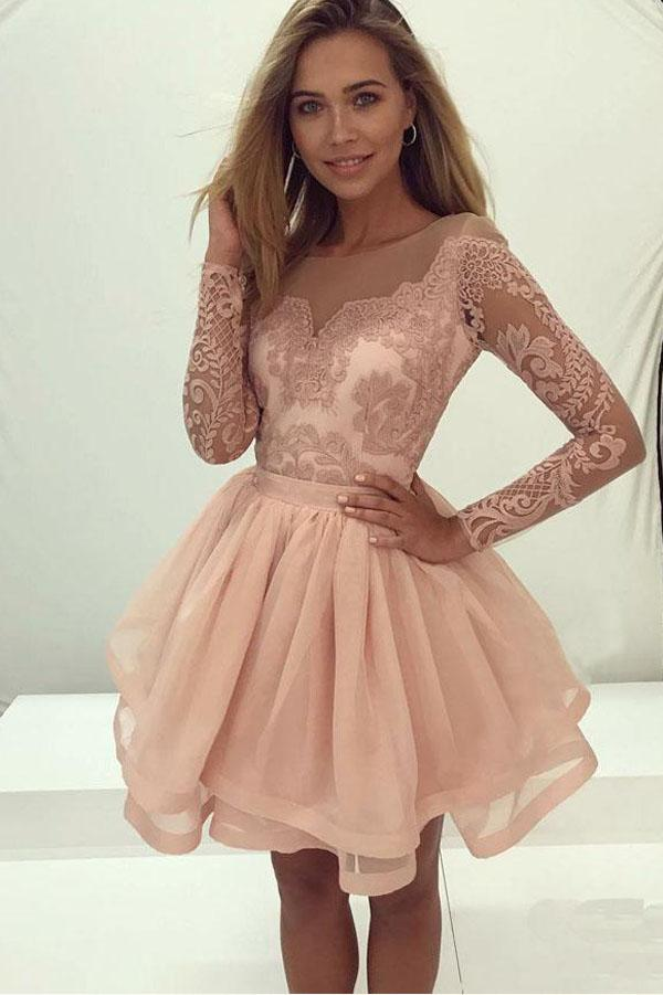 Cute Long Sleeve Lace Tulle Zipper Back Homecoming Dresses for Girls, MH364