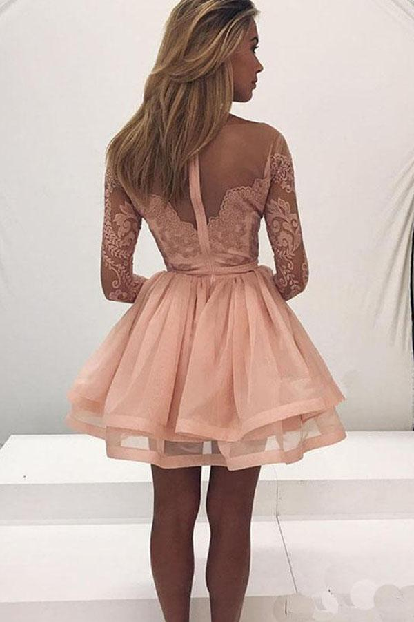 musebridals offer Cute Long Sleeve Lace Tulle Zipper Back Homecoming Dresses for Girls, MH364