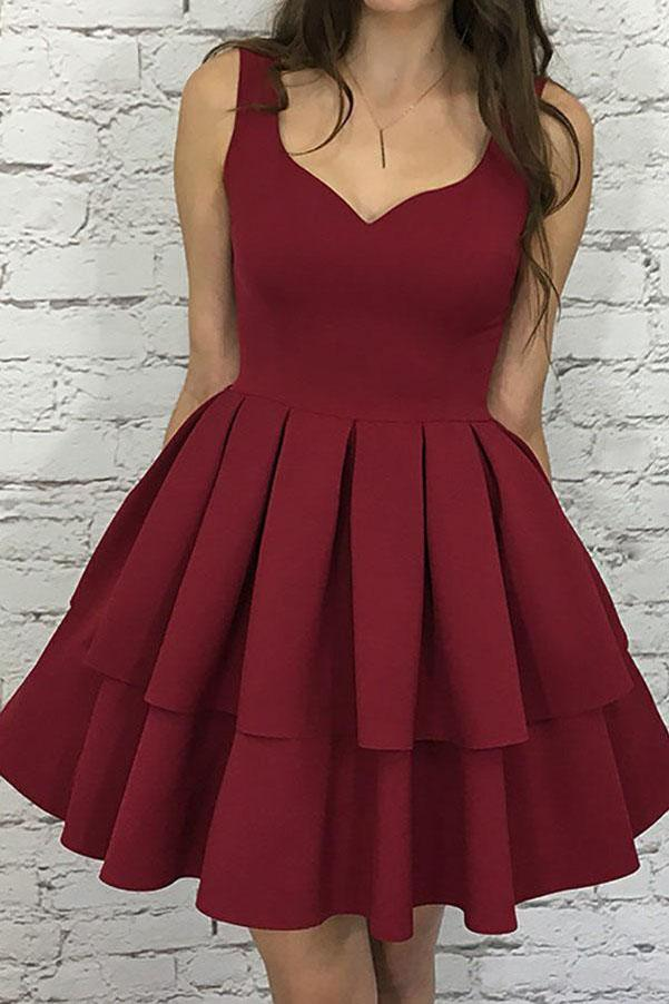 Burgundy Nice Scoop Neck Tiered Elastic Satin A-Line Homecoming Dresses, MH263