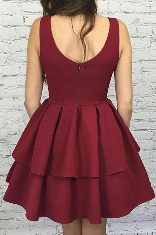 Burgundy Nice Scoop Neck Tiered Elastic Satin A-Line Homecoming Dresses, MH263|musebridals.com