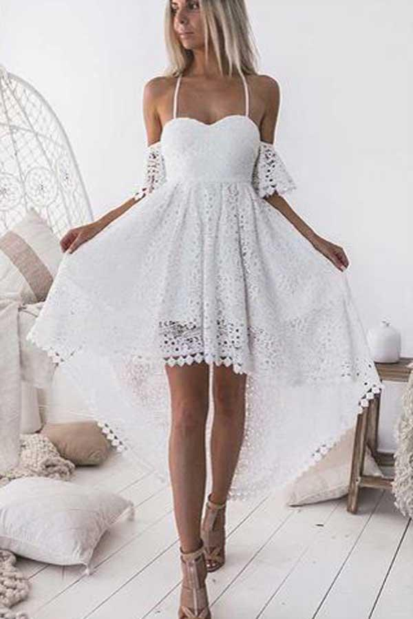 Charming White A-Line Straps High Low Off Shoulder Lace Homecoming Dresses, MH226